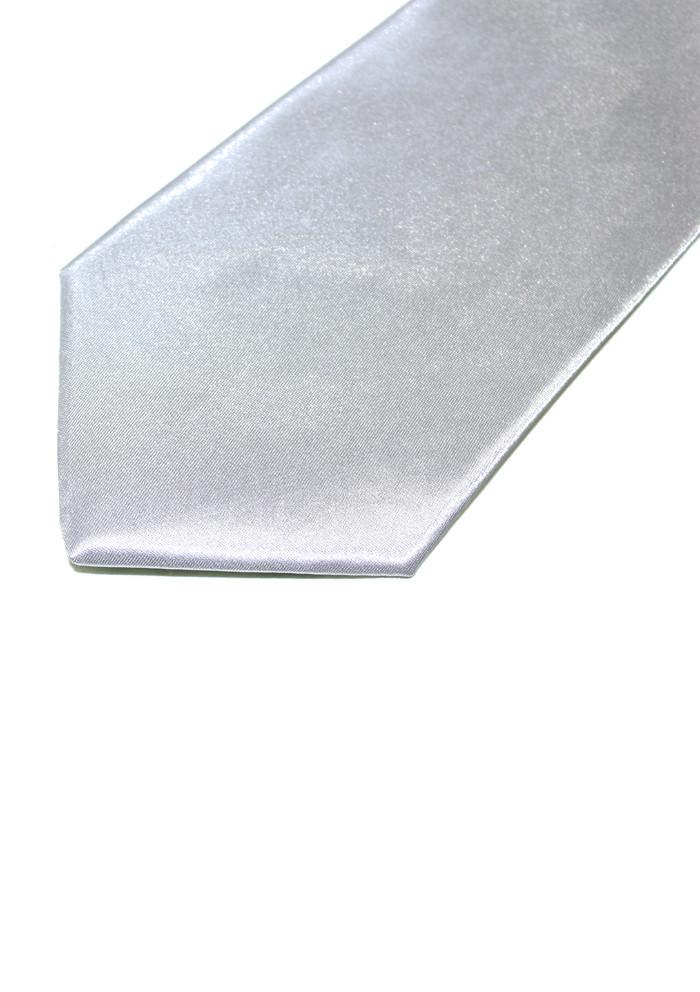 Men's handmade silver silk neck tie