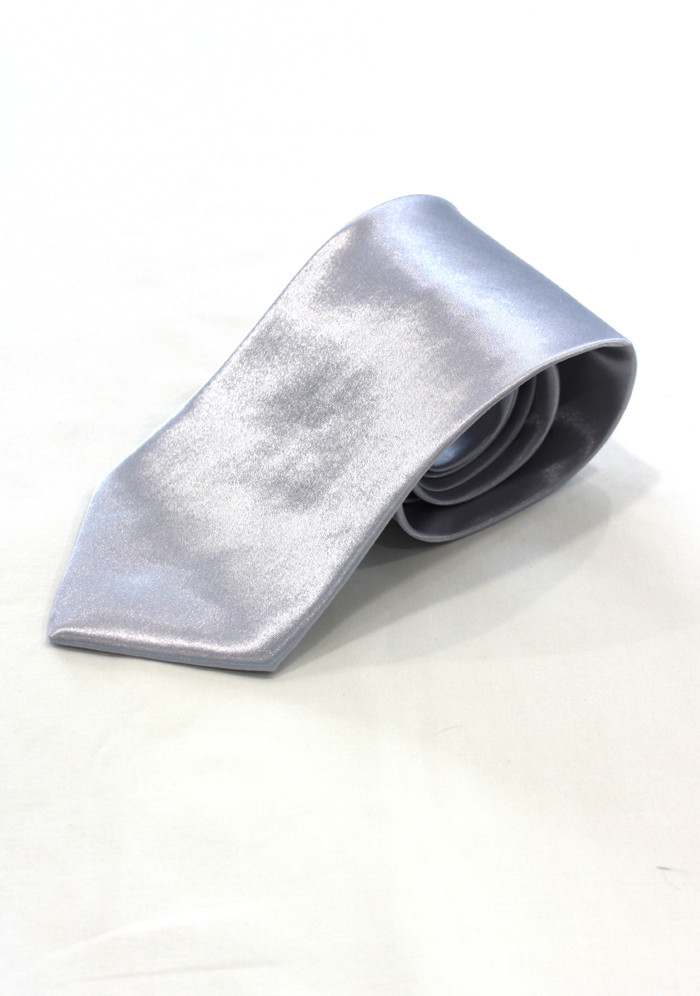 Silver Silk Mens Neck Tie