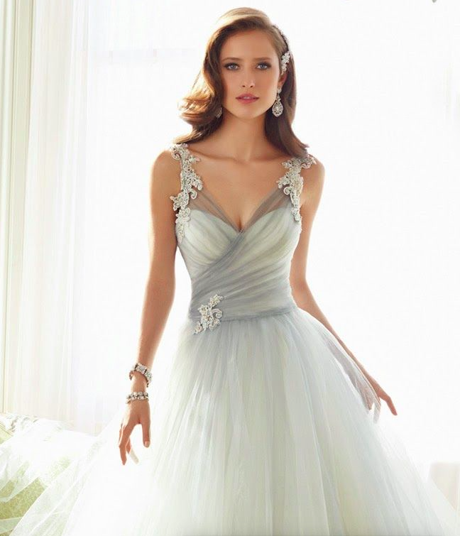 Light grey and white tulle wedding dress with lace beaded straps