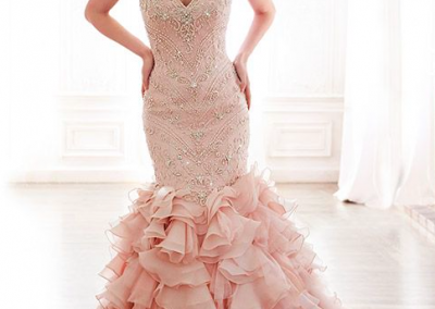 Light pink tulle organza beaded wedding dress