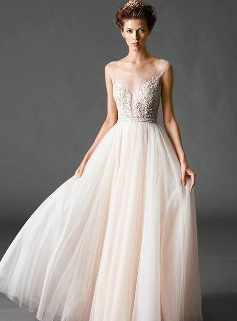 Light pink tulle wedding dress with illusion neckline