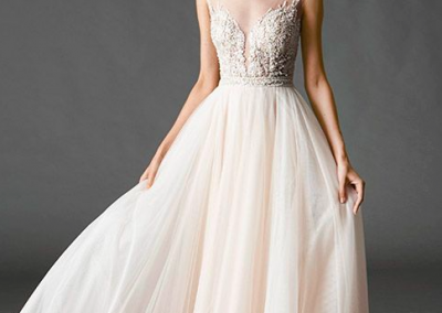 Light pink tulle wedding dress with illusion neckline