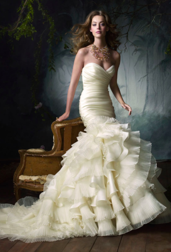 Organza mermaid wedding dress with cripple ruffles