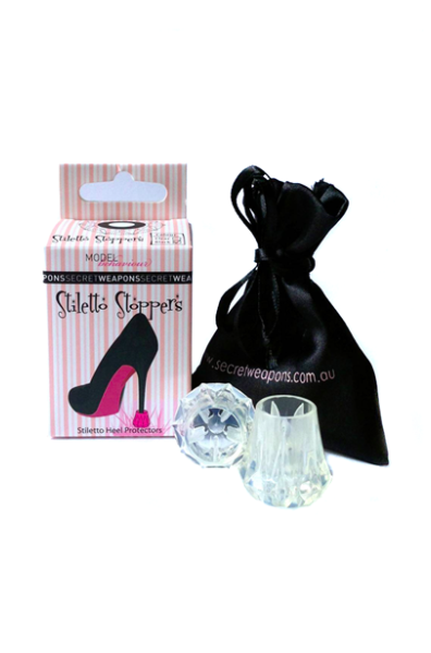 Diamond shaped high heel protectors come with a black draw string bag