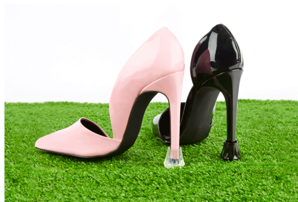Diamond shaped high heel protectors or stiletto protectors in black and clear colours