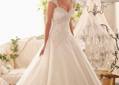 Sweet heart a-line organza dress with beaded bodice