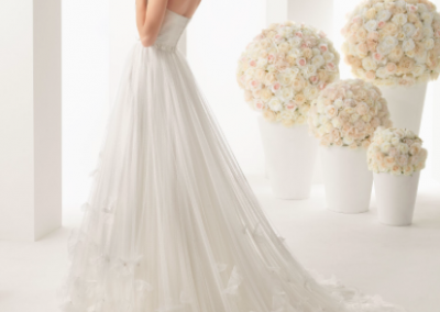 white organza wedding dress with sweep train