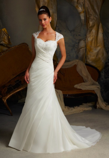 white shimmering organza wedding dress