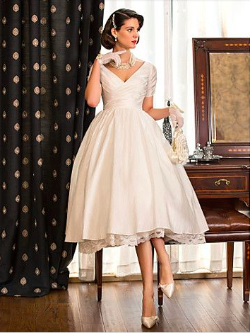 Short 1950s Style Taffeta Wedding Dress