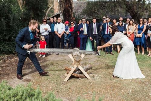 Groom with Bride in Custom Ziva Wedding Dress