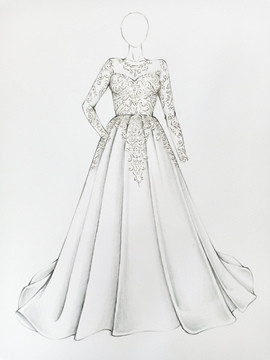 Front of wedding dress made by ziva dress makers