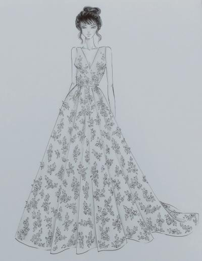 ziva wedding dress design sketch
